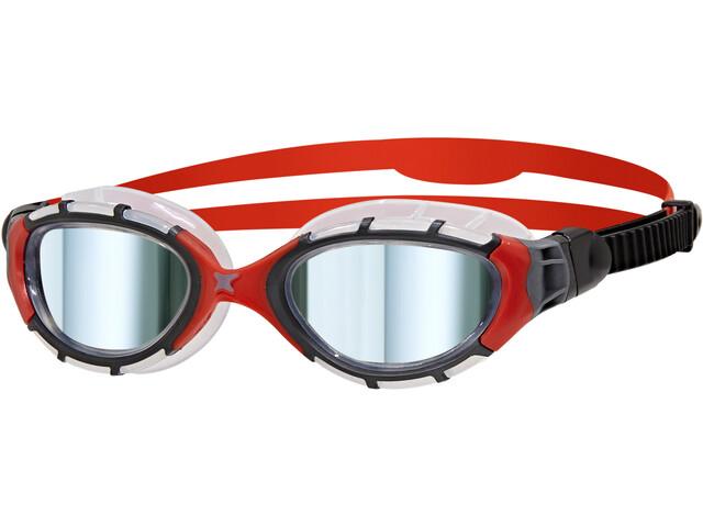 Zoggs Predator Flex Titanium Goggles L frame/red/mirror